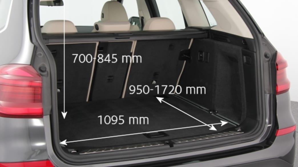 Kofferraum eines BMW X3s mit Maßen