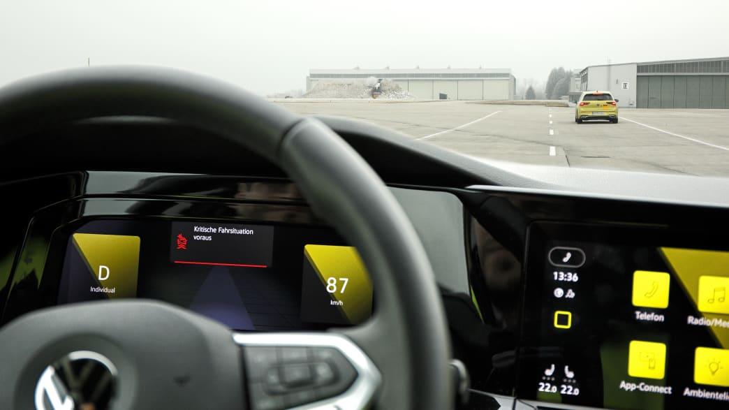 Fahrversuche Car2X hier eine kritische Situation in Penzing Fliegerhorst und Umgebung am am 24.01.2020