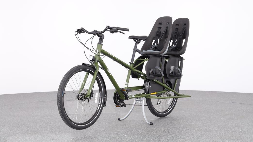 Produktabbildung eines Backpacker Fahrrades mit zwei Kindersitzen hinten