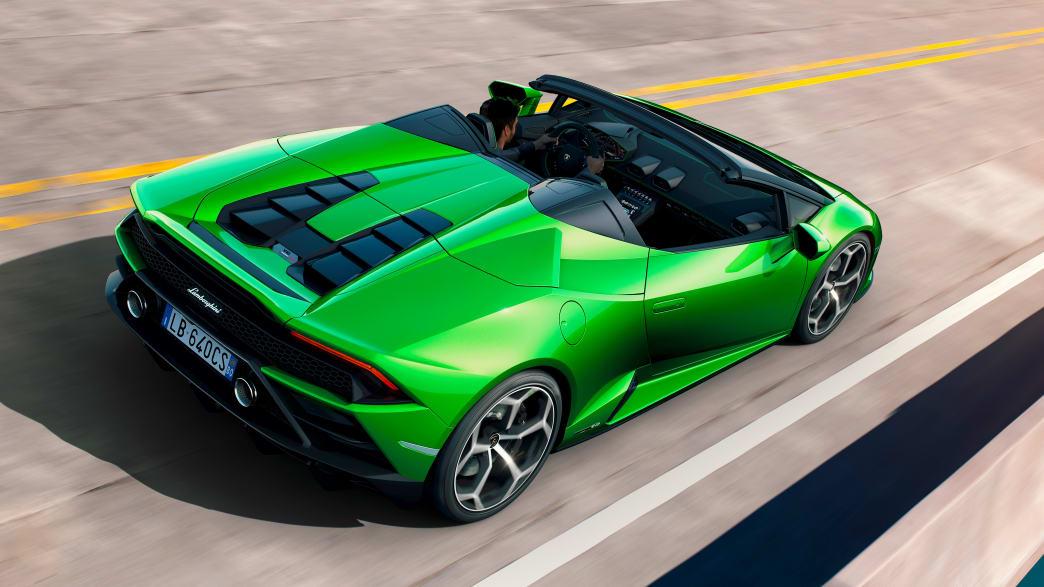 Draufsicht auf einen stehenden Lamborghini Huracan Spyer