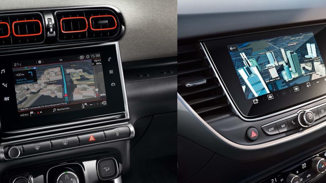 Ansicht beider Displays der Mini-SUVs Opel Crossland und Citroen C3 Aircross