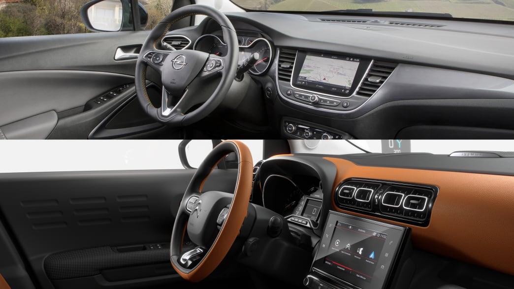 Gegenüberstellung des Cockpits von Opel Crossland und Citroen C3 Aircross