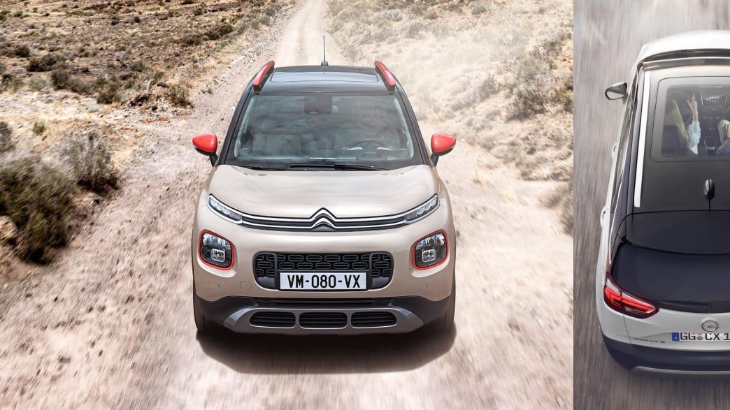 Aufsicht auf Opel Crossland und Citroen C3