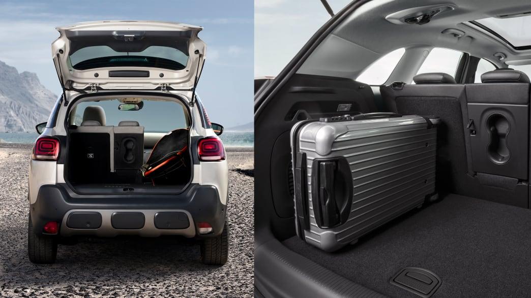 Ansicht beider Kofferräume der Mini-SUVs Opel Crossland und Citroen C3 Aircross