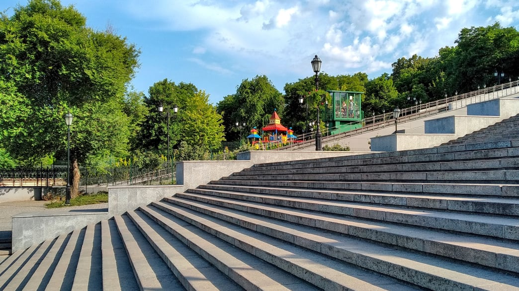 Nahaufnahme der Potemkinschen Treppe in Odessa