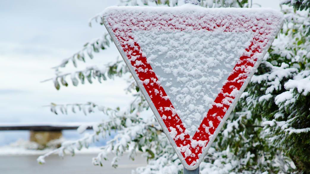 verschneites Verkehrsschild Vorfahrt achten
