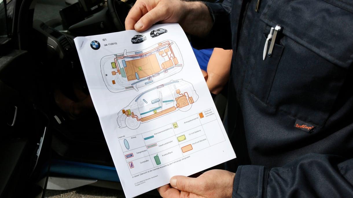 Rettungskarte eines Autos