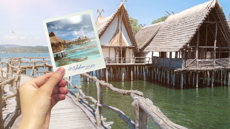 Pfahlbauten Malediven oder am Bodensee: zum Verwechseln ähnlich