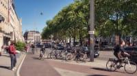 Fußgänger-, Rad- und Autoverkehr am Kölner Neumarkt