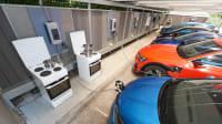 Wallboxen Lastmanagement Test mit Elektroherden im Carport Landsberg