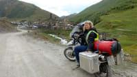 Selbstportrait von Susanne Flachmanns auf einer ihrer Motorradreisen