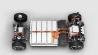 Dieser Aufbau eines E-Autos zeigt die Batterie im Unterboden