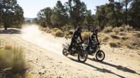 zwei Triumph Scrambler 1200 XE Motorräder im Gelände