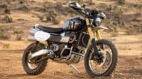 Seitenansicht des Motorrads Triumph Scrambler 1200 XE
