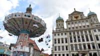 Kettenkarussel vor dem Augsburger Rathaus