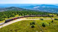 Ein Zug fährt durch eine Berglandschaft.