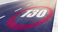 Tempo 130 Markierung auf dem Boden