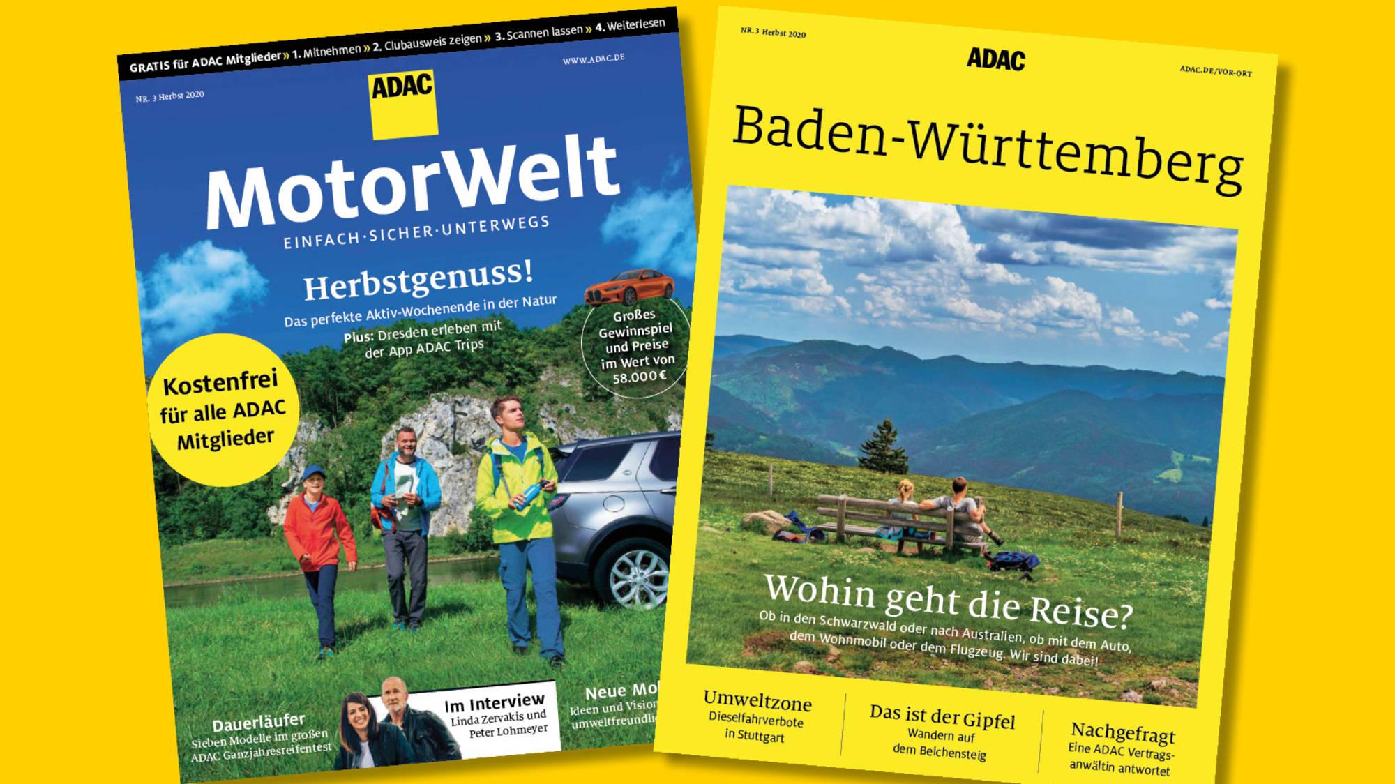 Die Herbstausgabe der ADAC Motorwelt mit dem Regionalmagazin Baden-Württemberg