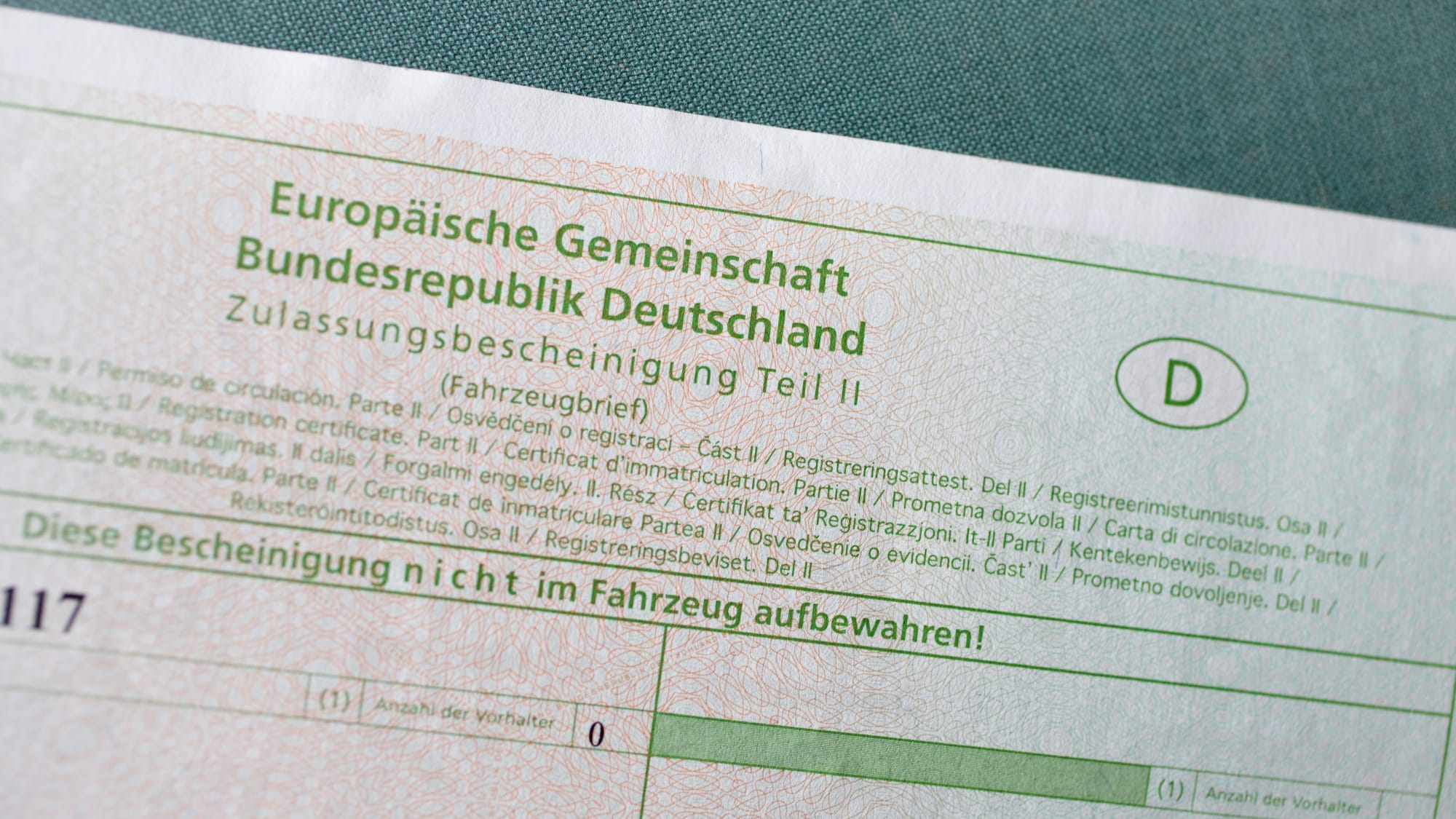 Fahrzeugbrief, Zulassungsbescheinigung Teil II