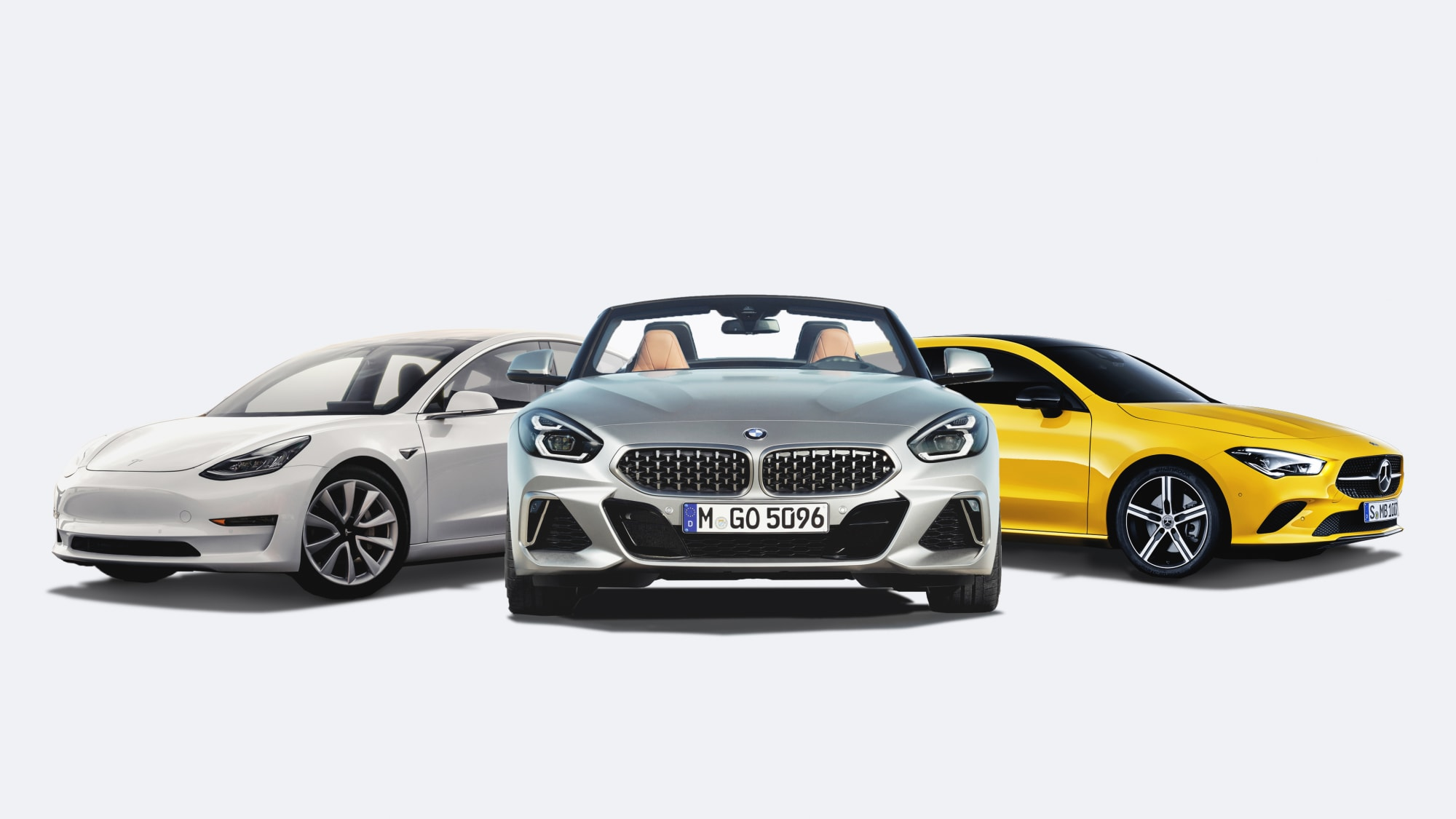 Collage Mercedes CLA BMW Z4 Tesla Model 3