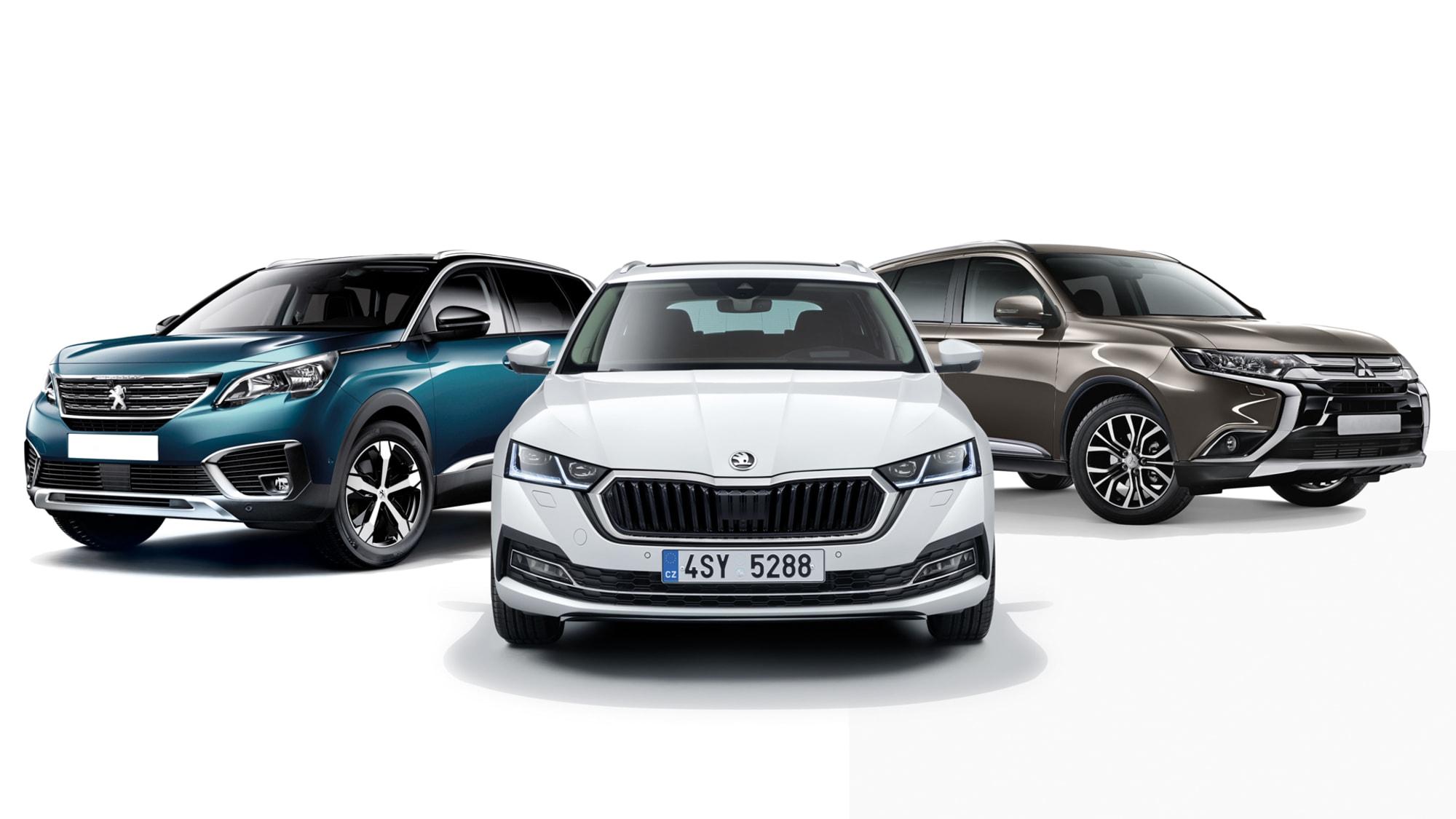 Die drei günstigsten Mittelklasse Autoas 2020 , von links: Peugeot 5008, Skoda Octavia, Mitsubishi Outlander