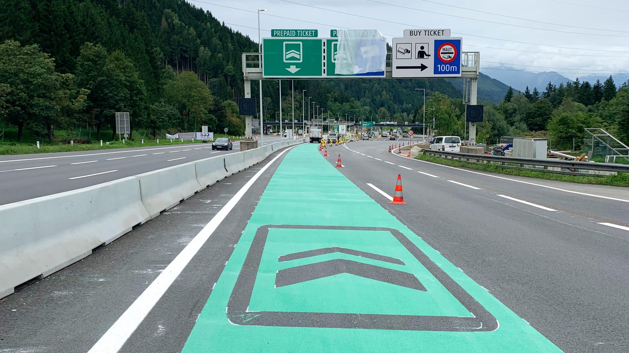 Mautstation an der Gleinalm auf der A9 in Österreich