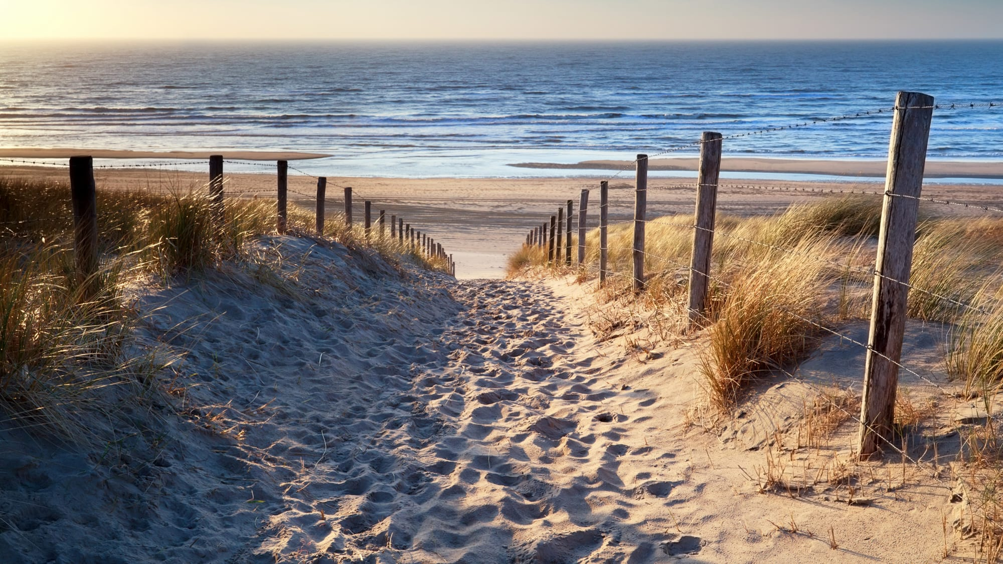 Aufgang zum Meer an der Küste in den Niederlanden
