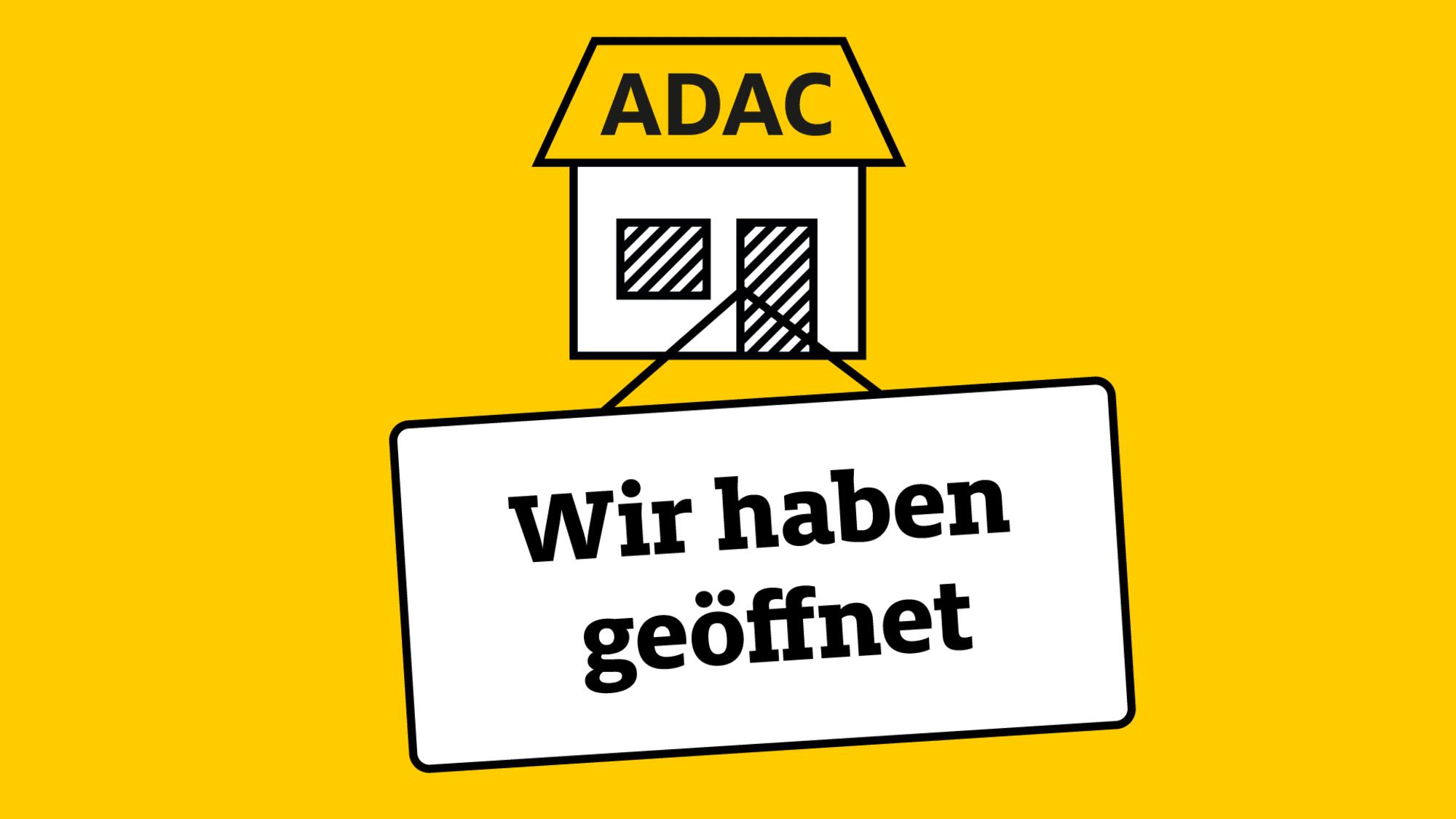 Schild ADAC Geschaeftsstellen sind wieder geoeffnet