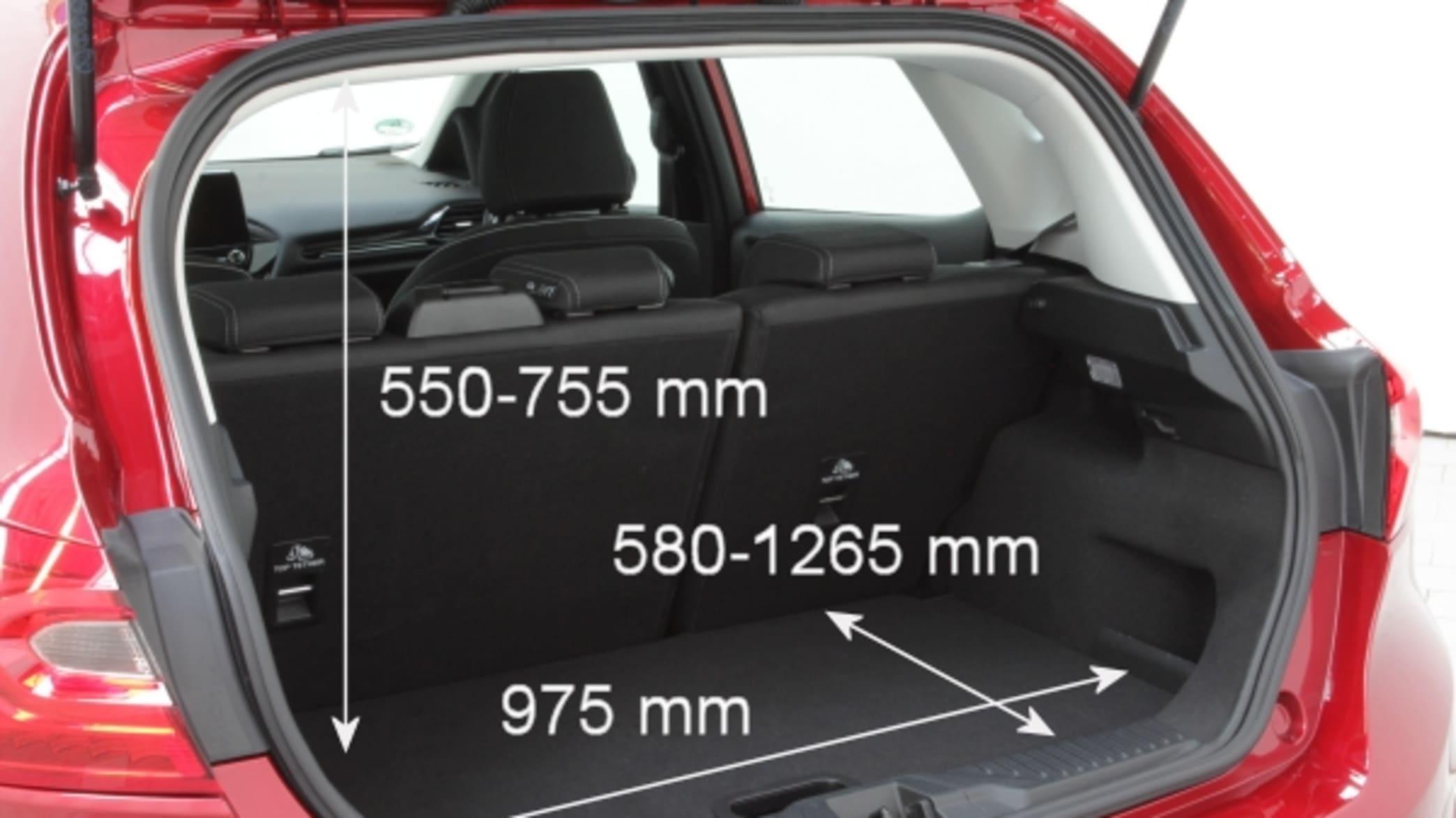 Kofferraum eines Ford Fiesta mit Maßen
