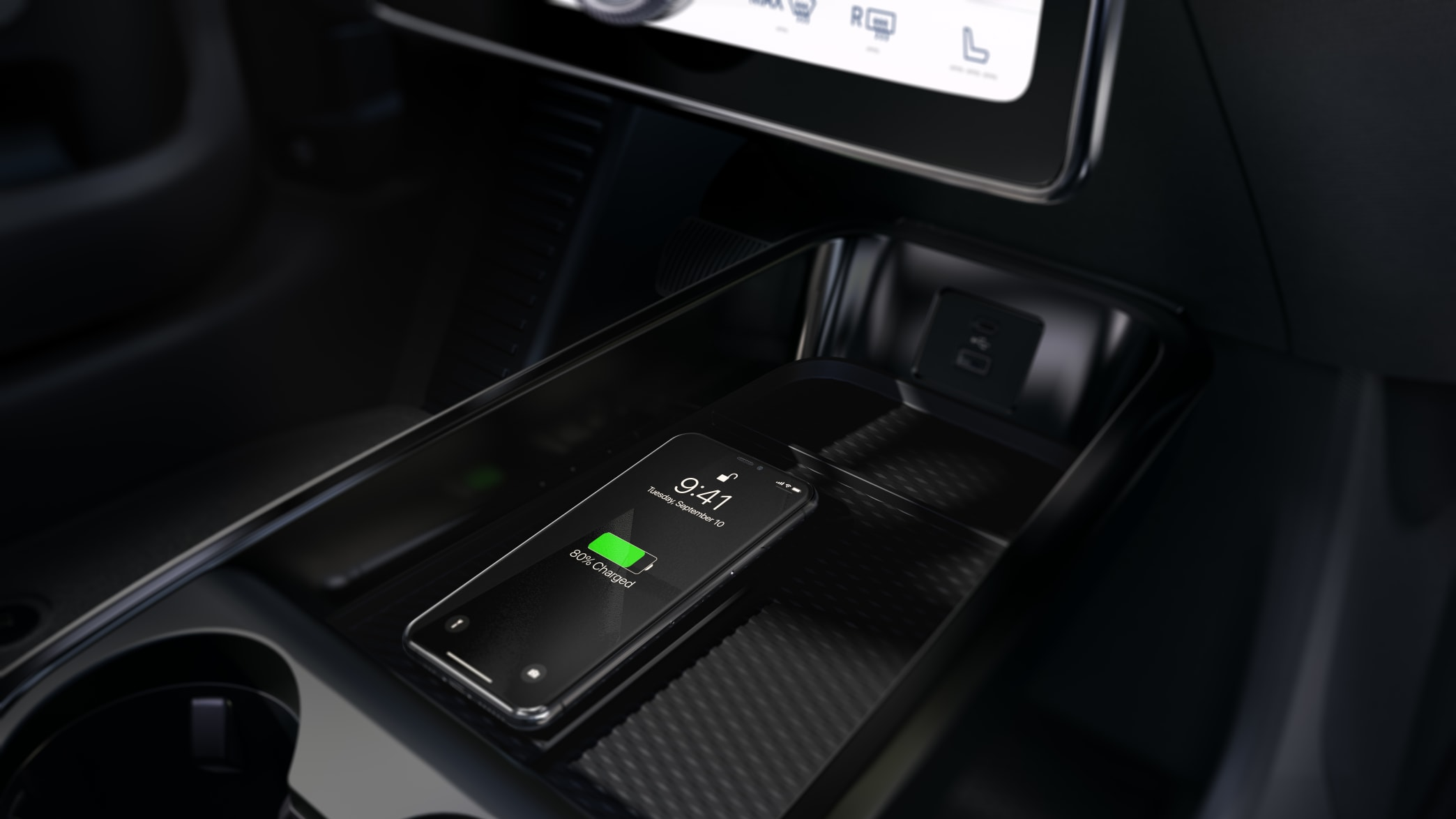 Wireless Charging in einem Ford Mustang Mach-E
