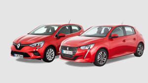 Peugeot 208 und Renault Clio stehen nebeneinander