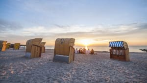 Ostsee-Strand bei Heiligenhafen bei Sonnenuntergang