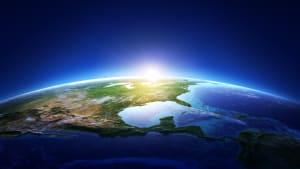 Die Erdkugel aus dem Weltall, Nordamerika ist zu sehen