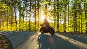 Motorradfahrer im Wald, schöner Sonnenuntergang