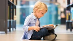 kleiner Junge liest in einem Buch