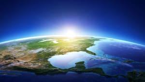 Die Erdkugel aus dem Weltall, zu sehen ist Nordamerika