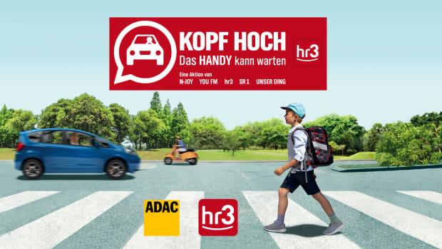 Kopf hoch. das Handy kann warten. Eine Aktion zur Verkehrssicherheit von hr3, unterstützt vom ADAC