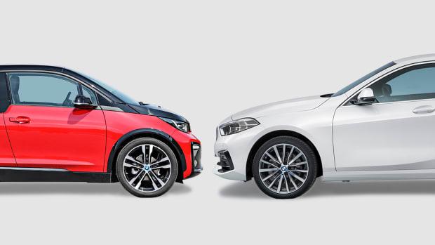 BMW i3 und BMW 118i von der Seite