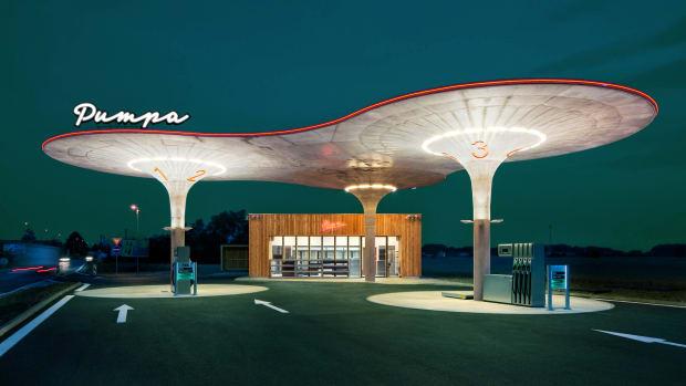 Tankstelle in Matuskovo in der Slowakei