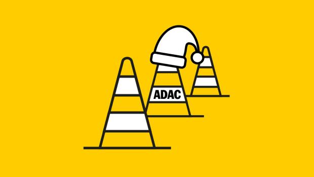 Fahrsicherheits-Pylone mit Nikolausmütze