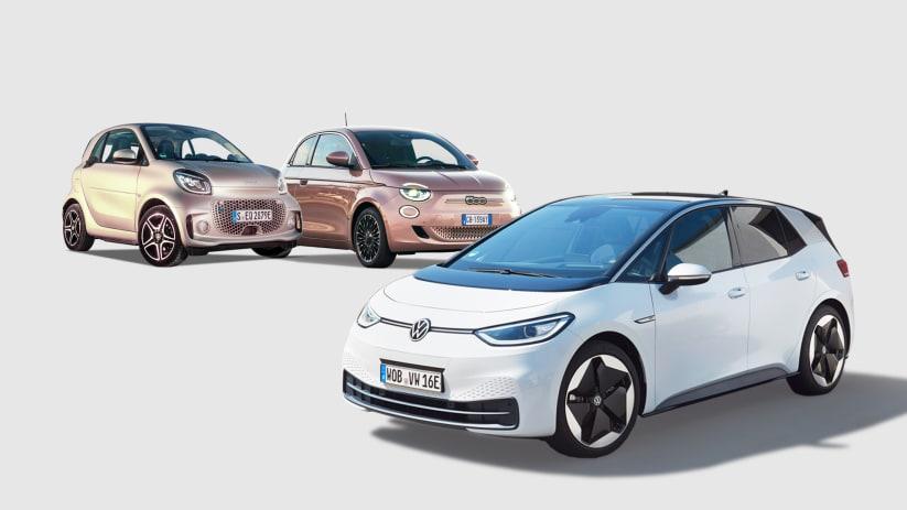 Die Elektroautos VW ID.3, Smart Fortwo EQ und der neue Fiat 500 im Studio