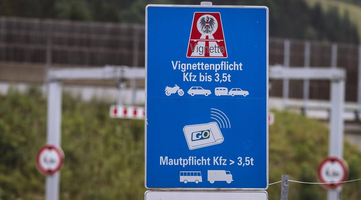 Sign toll sticker on motorway in Austria
