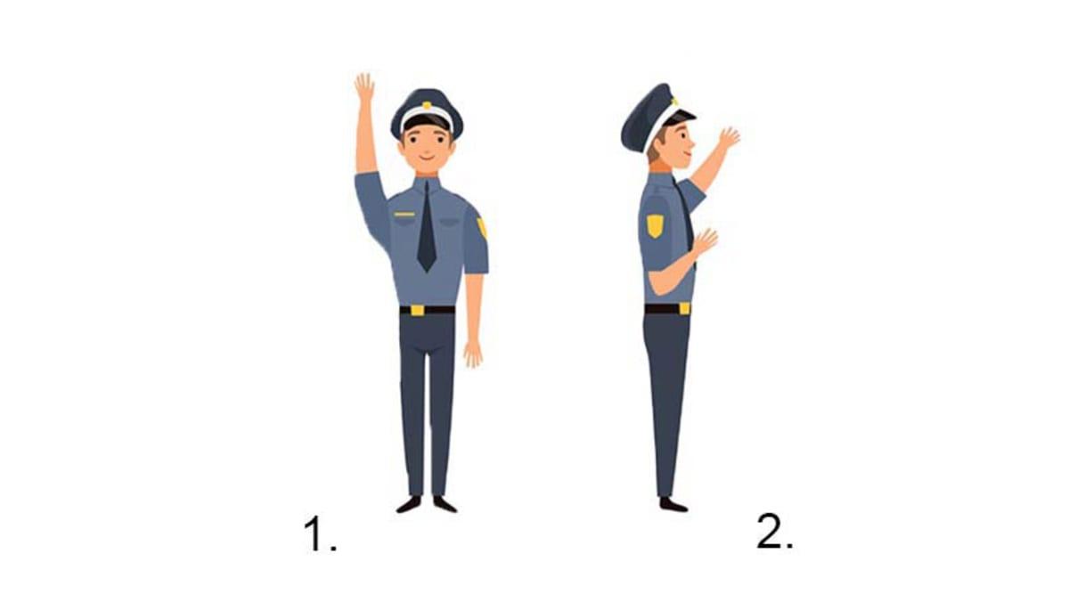 Illustration eines Polizisten, der Anweisungen gibt
