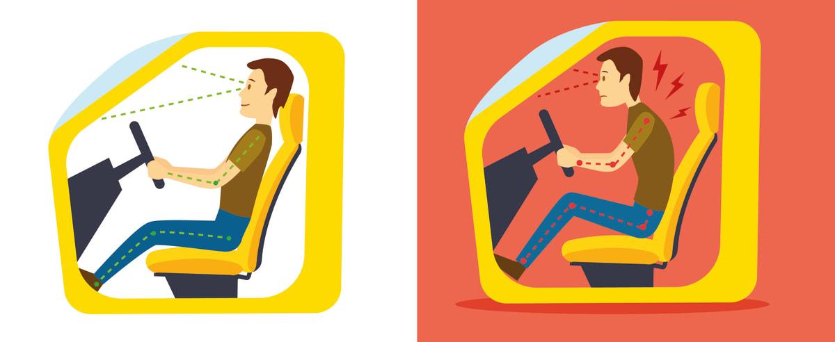 Illustration zur richtigen Sitzposition im Auto